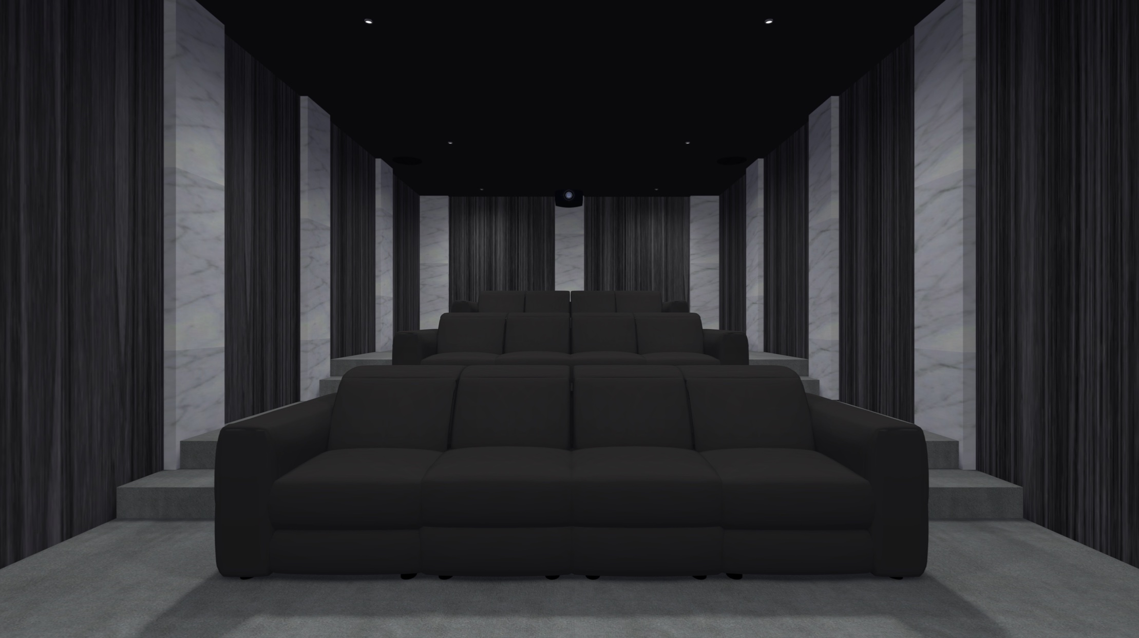 Basement dedicated home room with acoustic room treatment