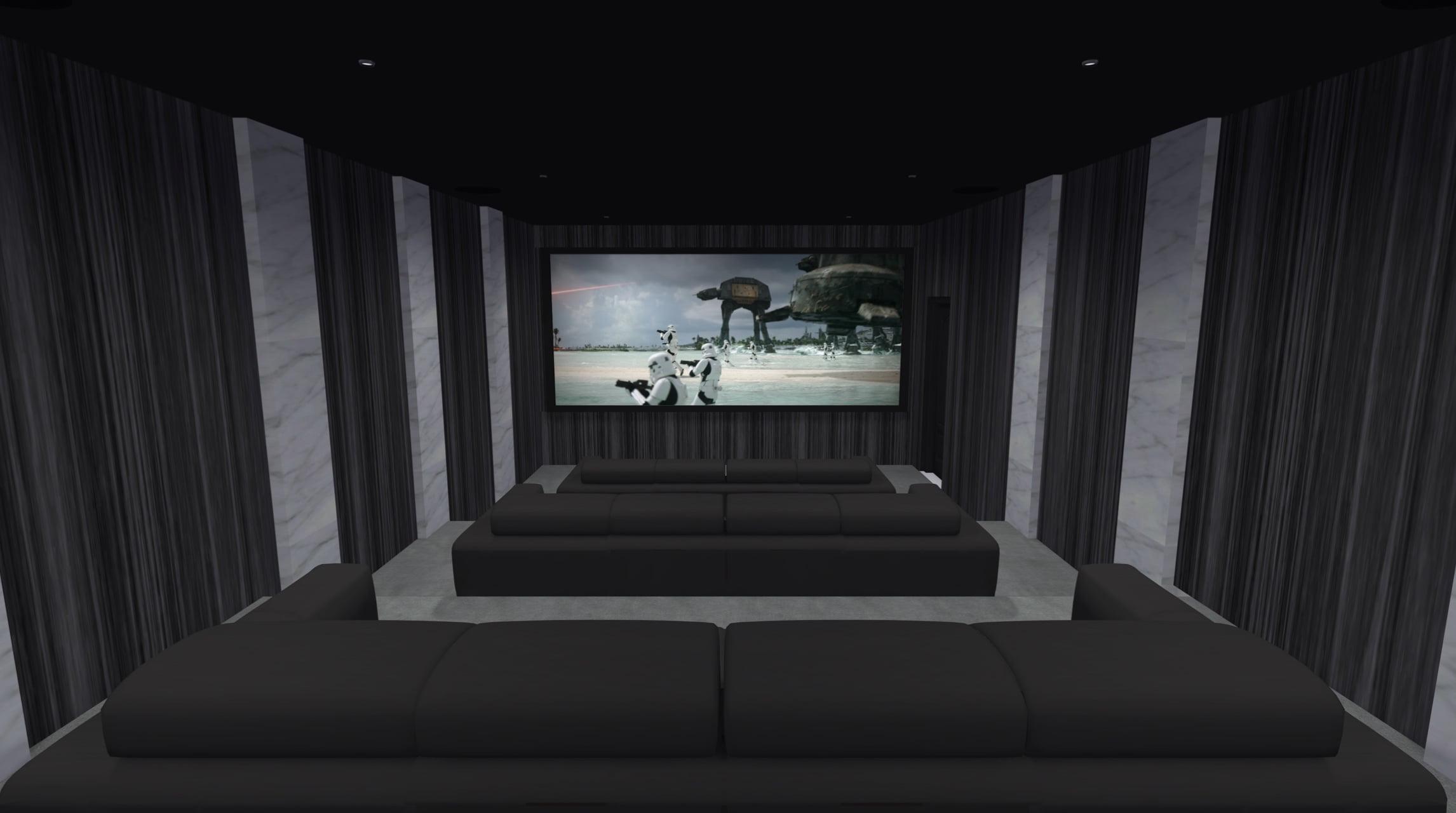 Basement dedicated home cinema room in self build property