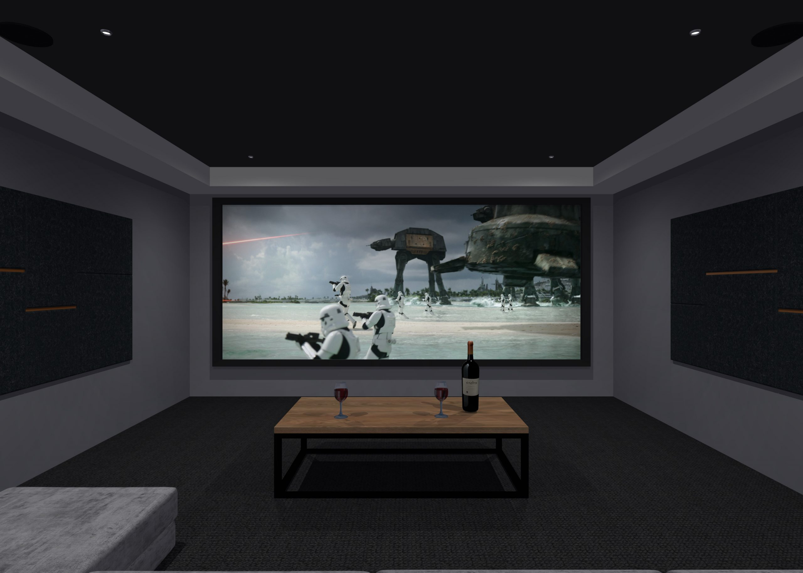 Garage conversion home cinema with acoustic room treatment