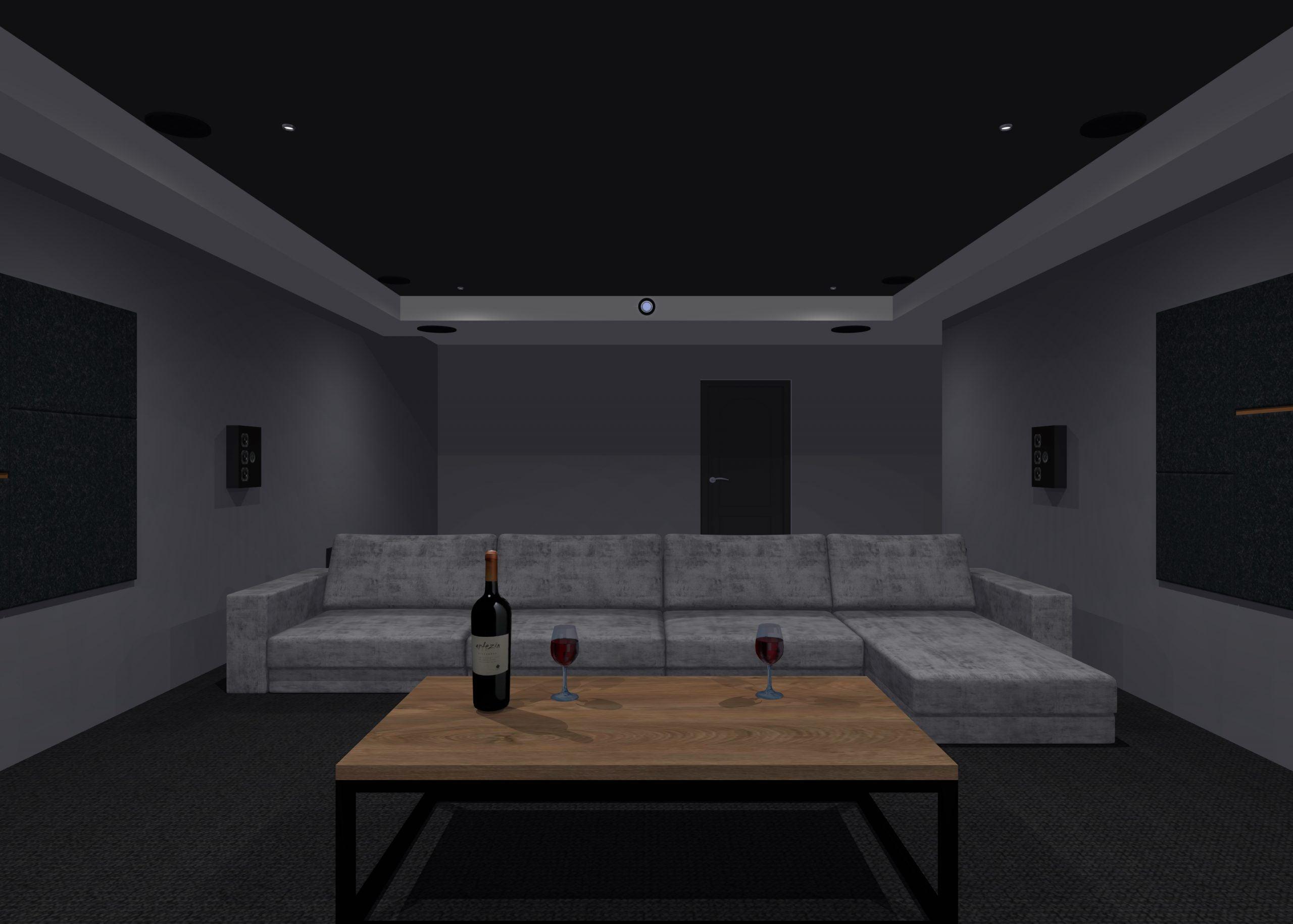 Garage conversion home cinema seating layout
